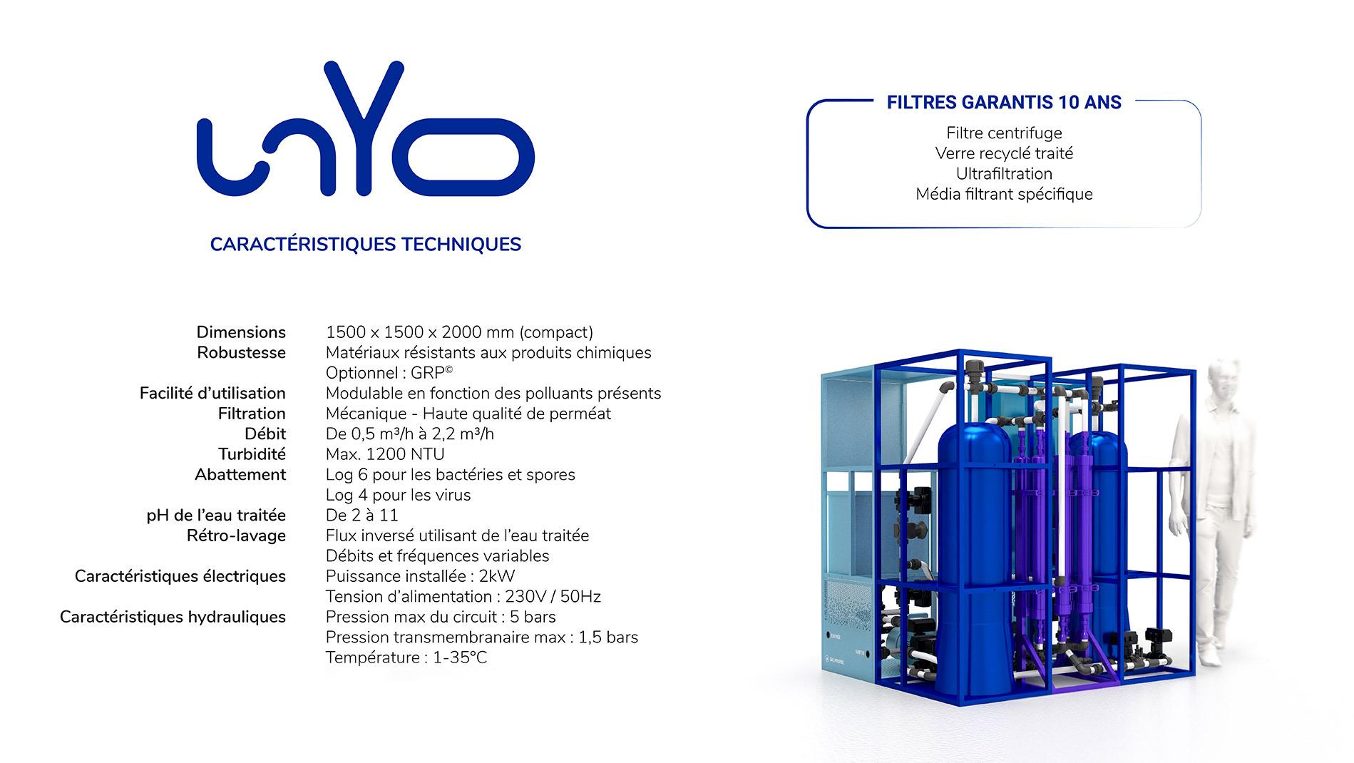 unYo- garanti 10 ans - filtration eau douce - potabilisation - préservation ressource eau - innovation