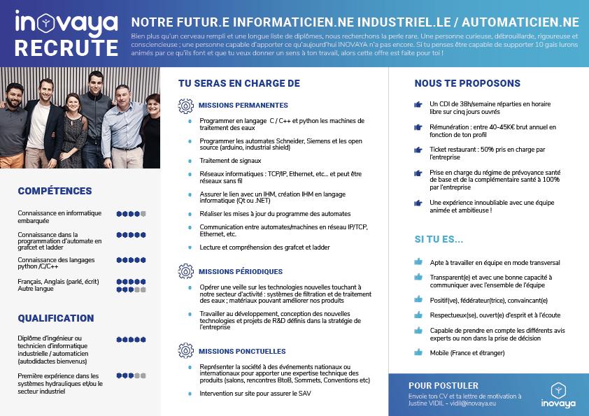 offre emploi - recrutement - informaticien industriel - automaticien