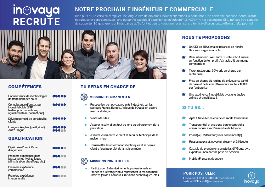 ingénieur - commercial - InovaYa - offre emploi - recrutement
