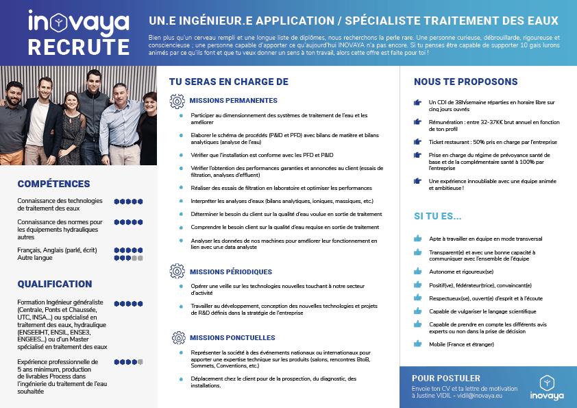 Ingénieur application / Spécialiste Traitement des eaux - offre emploi